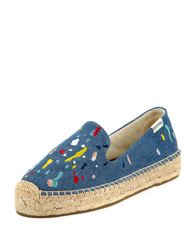 Splatter-Print Denim Espadrille, Medium Blue