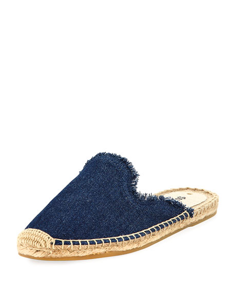 Frayed Denim Espadrille Mule, Dark Blue