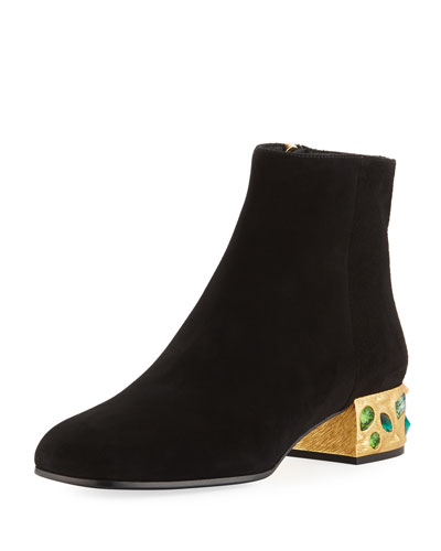 Suede Jewel-Heel Ankle Boot
