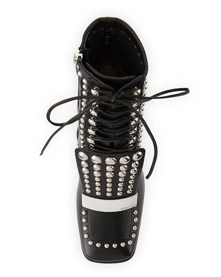 Studded Lace-Up Block-Heel Boot