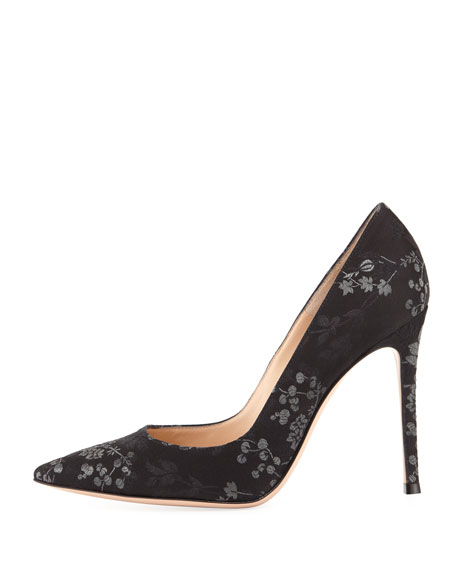 Gianvito 105 Floral Brocade 105mm Pumps, Black