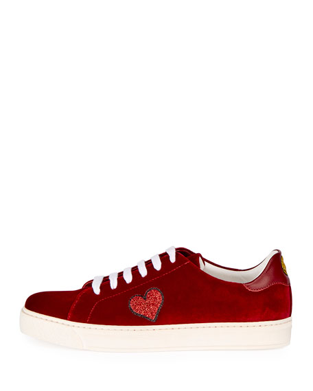 Velvet Glitter Heart Sneakers, Red