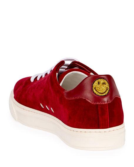 Velvet Glitter Heart Sneaker, Red