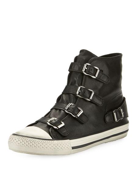 Ash Virgin Leather Buckle High-Top Sneaker
