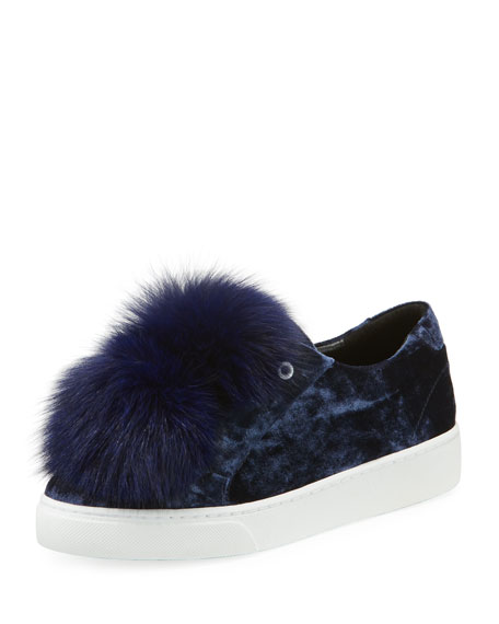 HERE/NOW NAYLA CRUSHED VELVET POMPOM SNEAKERS