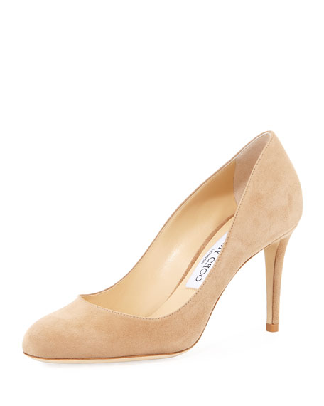 Jimmy Choo Bridget Suede Round-Toe Pump