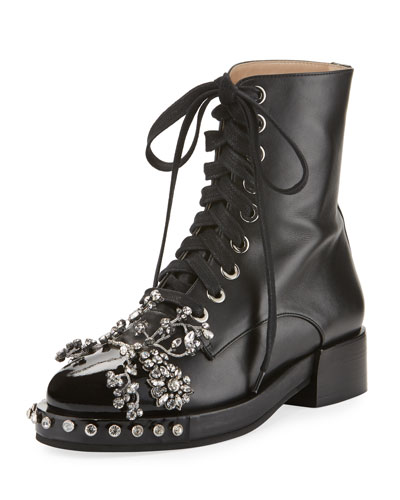 Crystal-Embellished Lace-Up Combat Boot