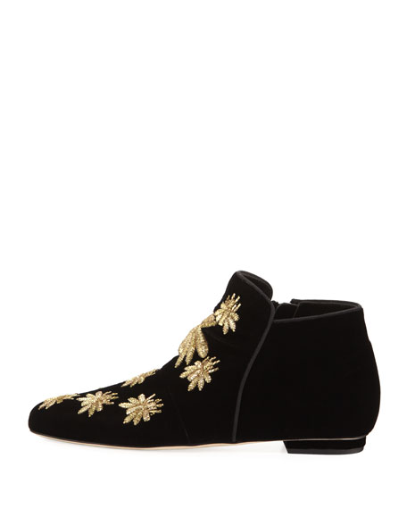 Metallic Embroidered Velvet Boot