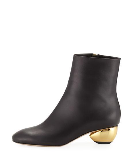 Brancusi Leather Metallic-Heel Boots