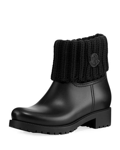 Rubberized Pull-On Rain Boot w/Knit Cuff