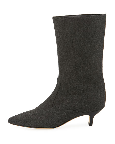 Michelle Wool Mid-Calf Low-Heel Boot, Dark Gary