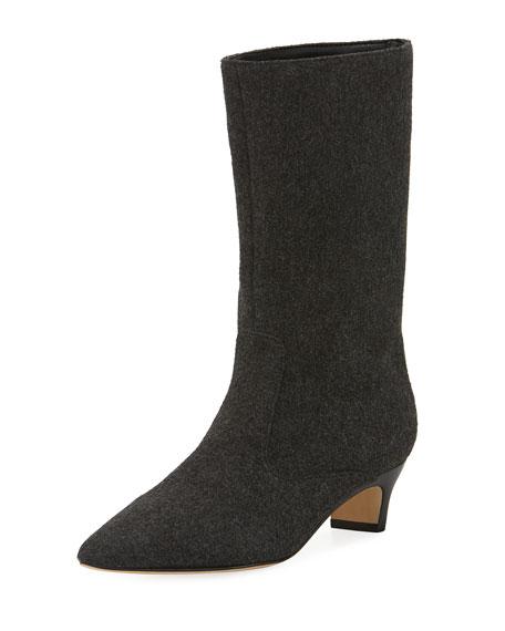 8362f2df1b9 Michelle Wool Mid-Calf Low-Heel Boot Dark Gary
