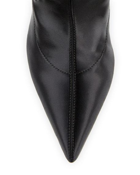 Holly Glove Stretch-Satin Tall Boot, Black