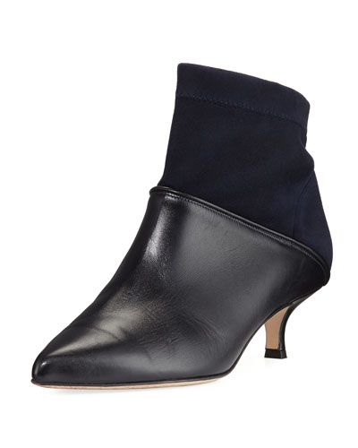 Jean Suede & Leather Ankle Boots