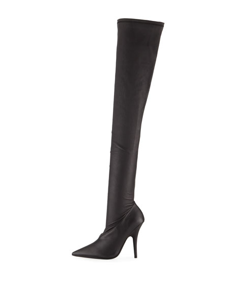 Stretch-Leather Over-the-Knee Boot