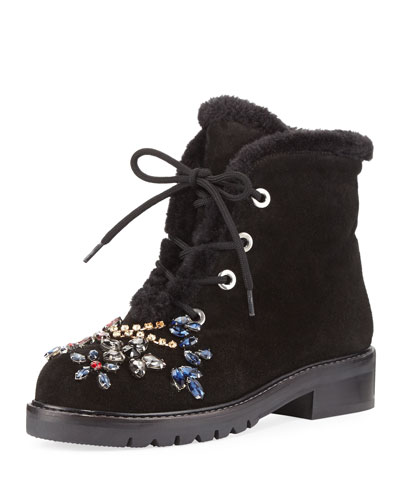 Bejeweled Fur-Lined Combat Boot