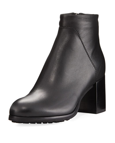 Everett Grained Leather Block-Heel Boot