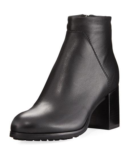 Everett Grained Leather Block-Heel Boot