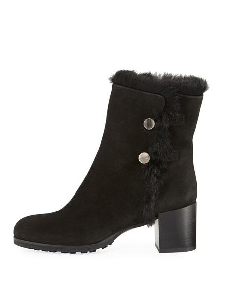 Evangeline Fur-Trim Block-Heel Boot
