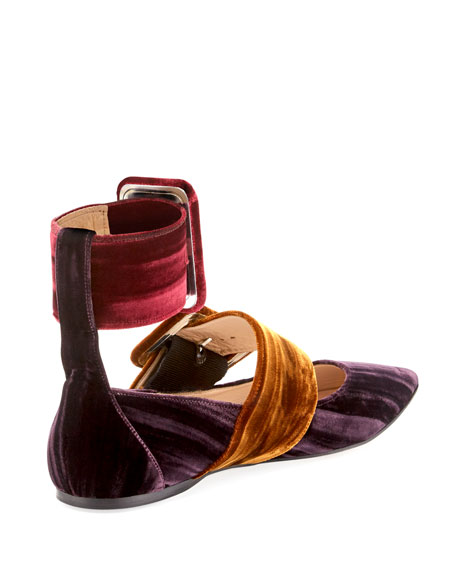 Manu Colorblock Velvet Two-Strap Flat