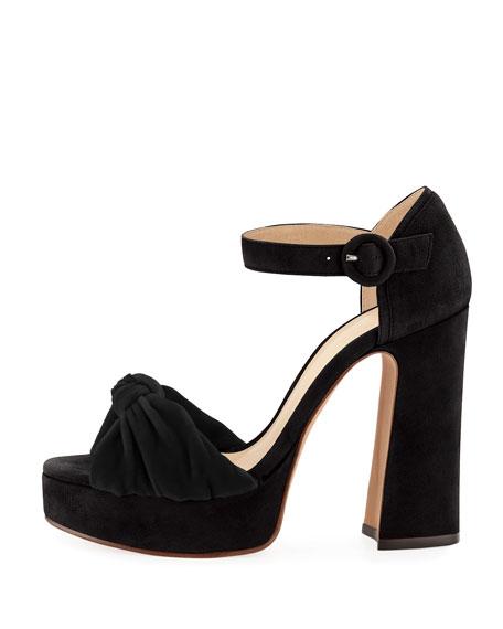 Ruched Suede & Velvet Platform Sandal