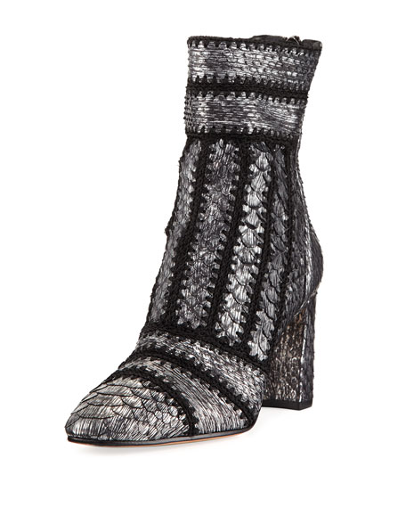 Beatrice Cross-Stitched Python Bootie