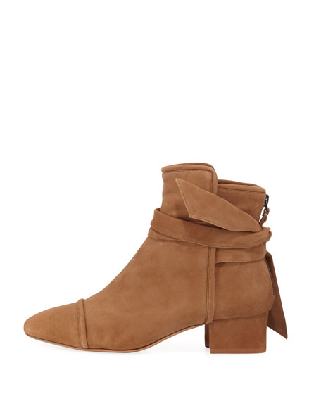 Catherine Suede Ankle-Wrap Bootie