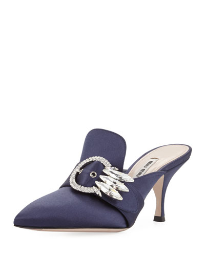 Satin Point-Toe Buckle Mule Pump