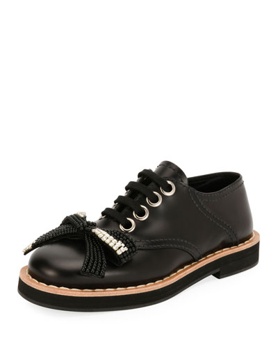 Beaded Bow Lace-Up Oxford