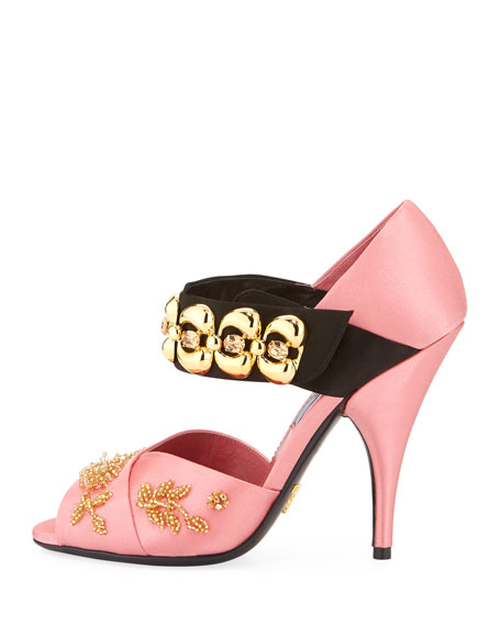 Beaded Satin d'Orsay Pump