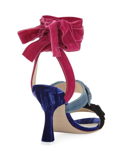 Colorblock Velvet Ankle-Wrap Sandal