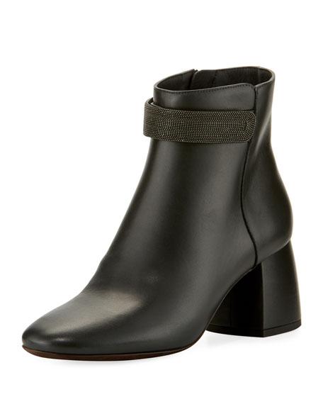 Leather Monili-Strap Block-Heel Boot
