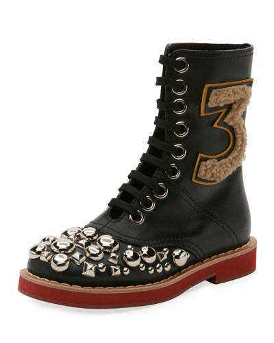 Studded Lace-Up Leather Boot