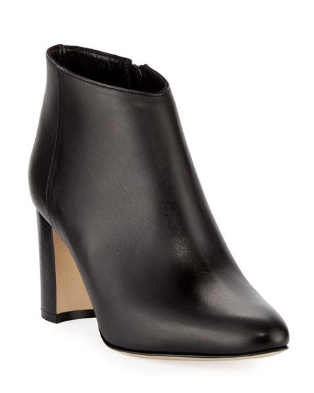 Brusta Leather Stack-Heel Bootie