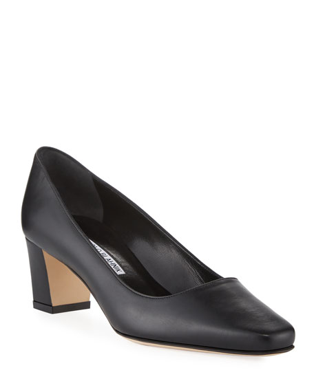 Okkatopla Leather Block-Heel Pumps