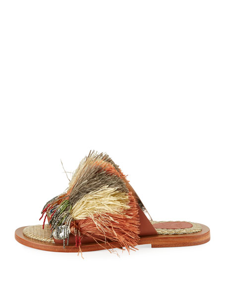 Beaded Raffia Slide Sandal