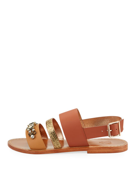Bejeweled Leather Strappy Flat Sandal