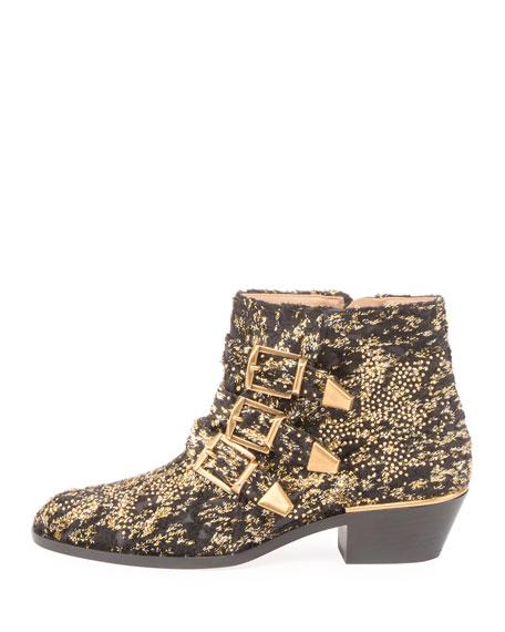 Susanna 30mm Glittery Velvet Ankle Boot