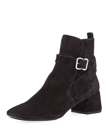 Suede Ankle-Strap Block-Heel Boot, Black