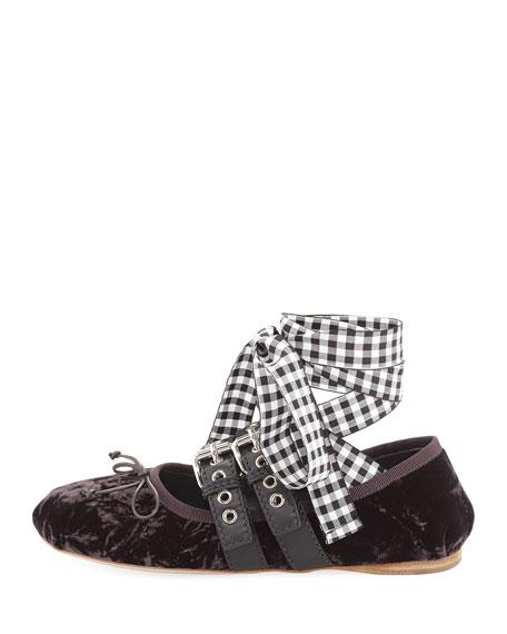 Velvet Ankle-Tie Ballerina Flat
