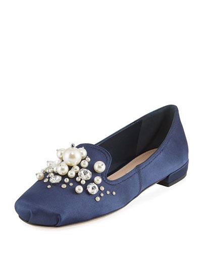 Suede Embellished Ballerina Flat