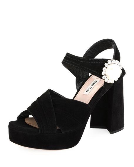 Pearly Buckle Block-Heel Platform Sandal