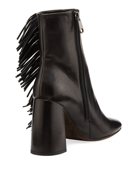 Leather Bootie with Monili Fringe