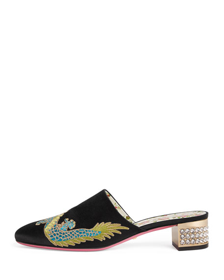Candy Embroidered Satin Mule Pump