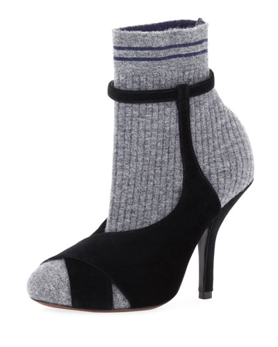 Suede & Knit Sock Bootie
