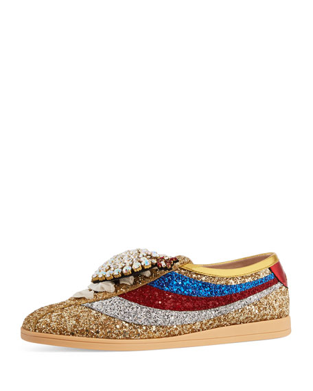 Falacer Glittered Low-Top Sneakers with Heart Ornament