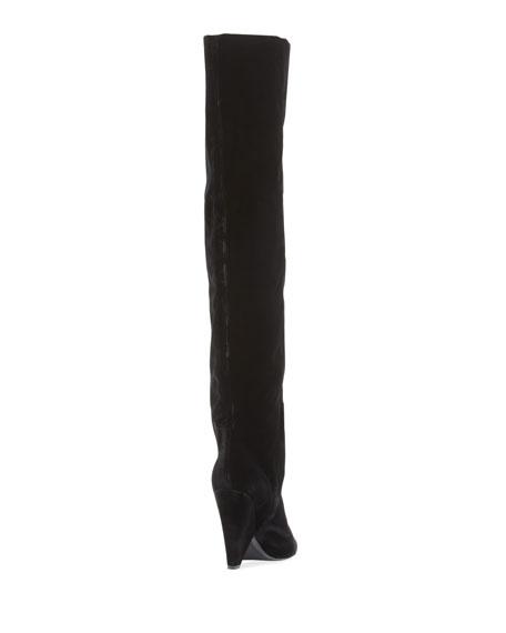 Velvet Cone-Heel Tall Boot