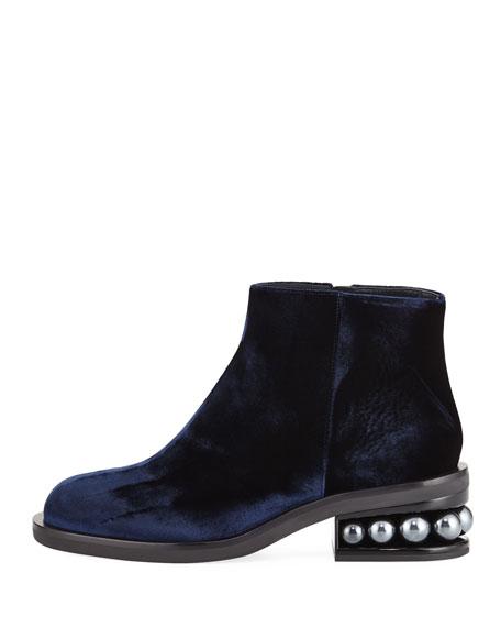 Casati Velvet Pearly-Heel Ankle Boot