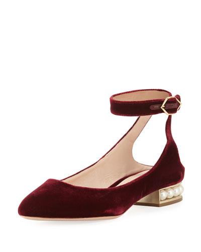 Lola Velvet Ankle-Wrap Flat