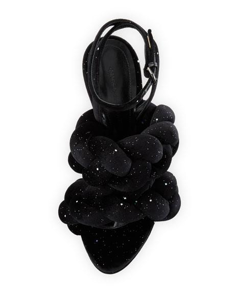 Braided Glitter Velvet Sandal